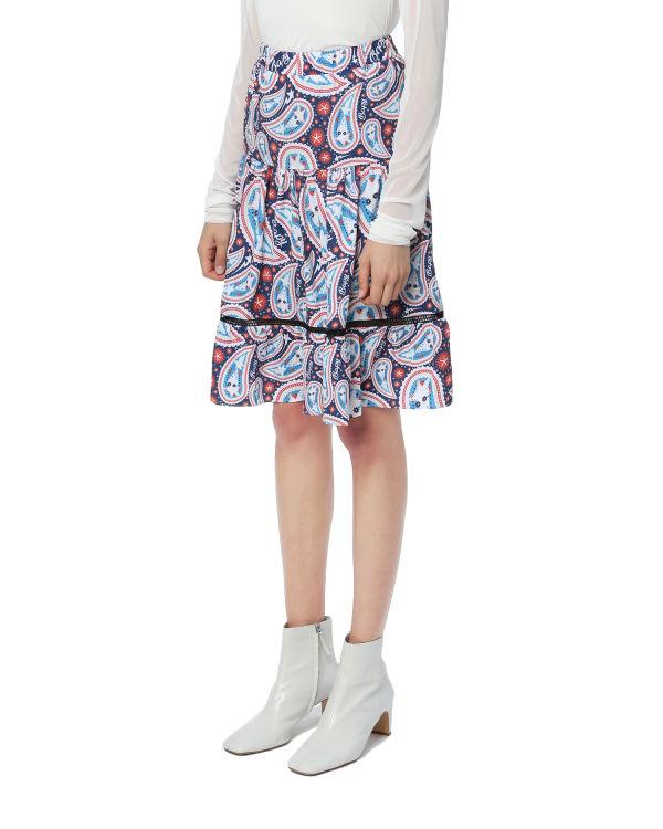 Paisley pleated skirt