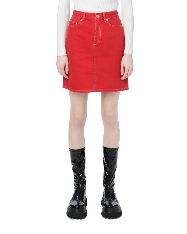 Contrast trim A-line skirt