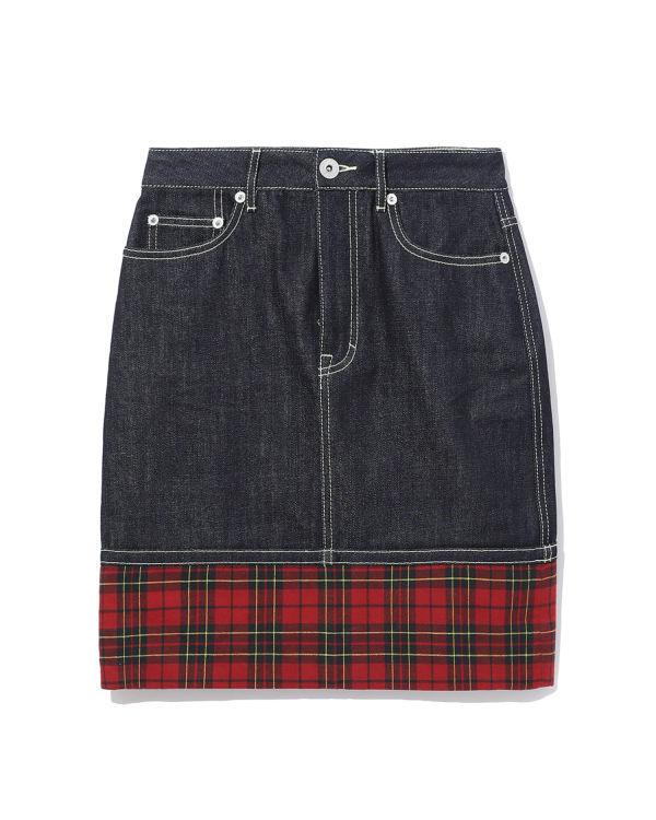Plaid denim A-line skirt
