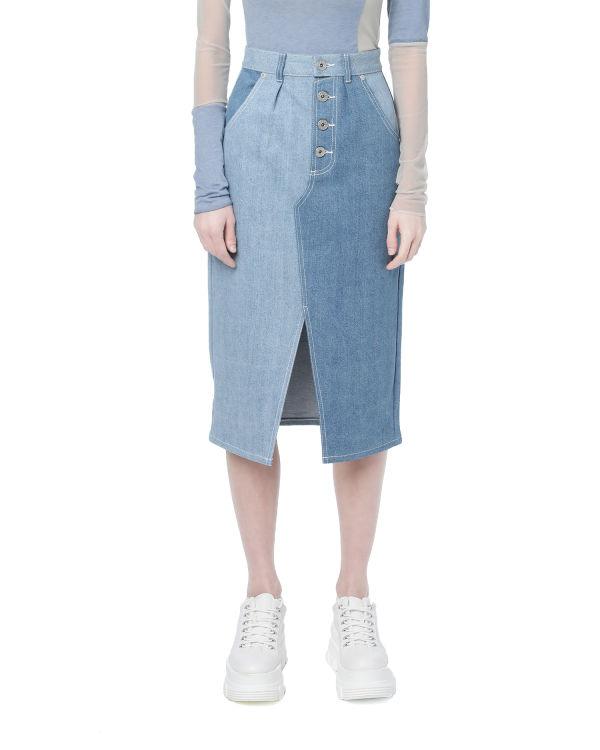 Contrast denim pencil skirt