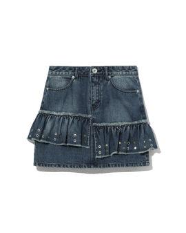 Layered denim skirt