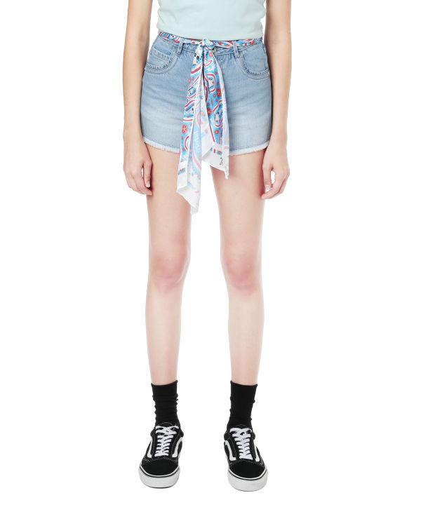 Handkerchief belted denim shorts