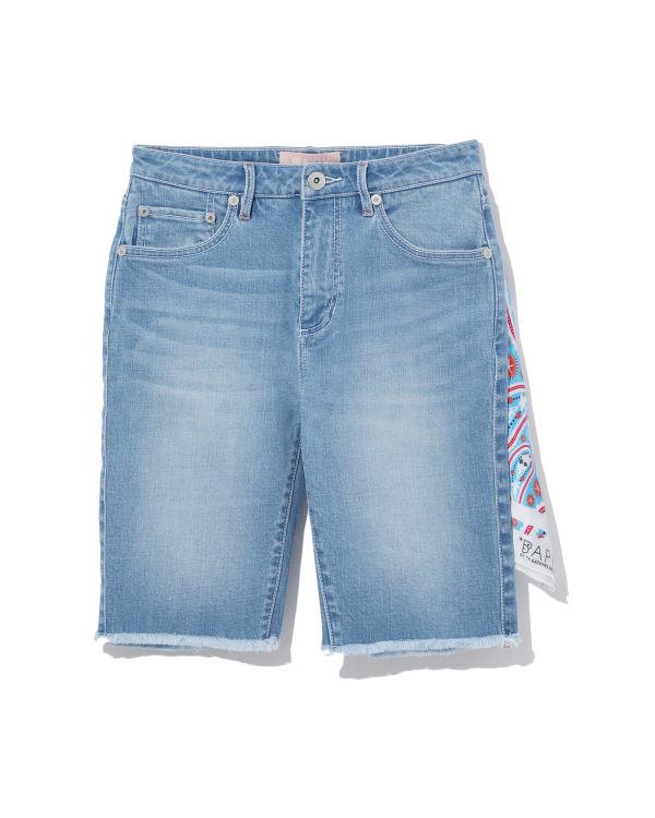 Embellished denim bike shorts