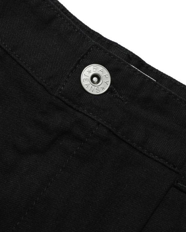 Flared denim shorts