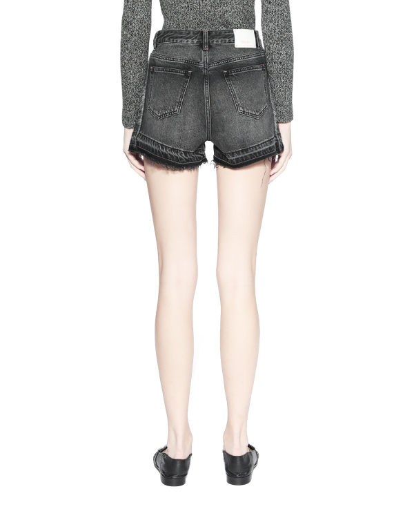 Frayed trim denim shorts