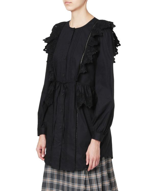 Eyelet embroidered ruffle trim blouse