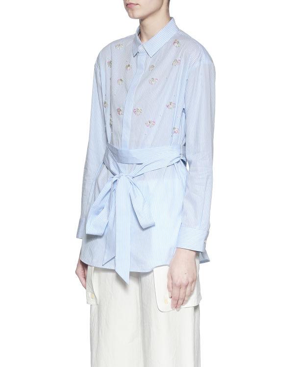 Embellished waist tie shirt