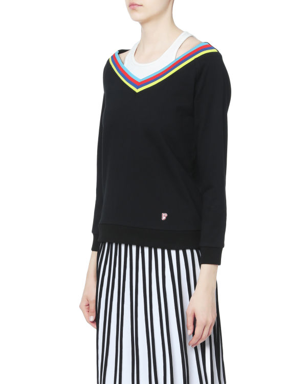 Layered striped trim sweater