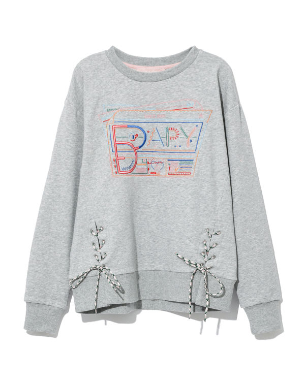 Lace tie graphic sweatshirt
