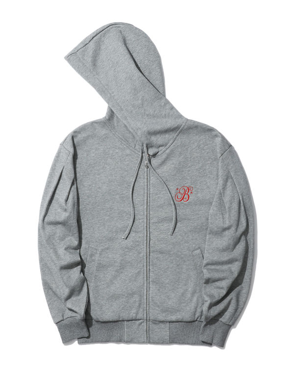 Moniker embroidered zip hoodie