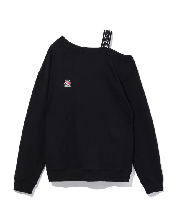 One-shoulder logo sweatshirt