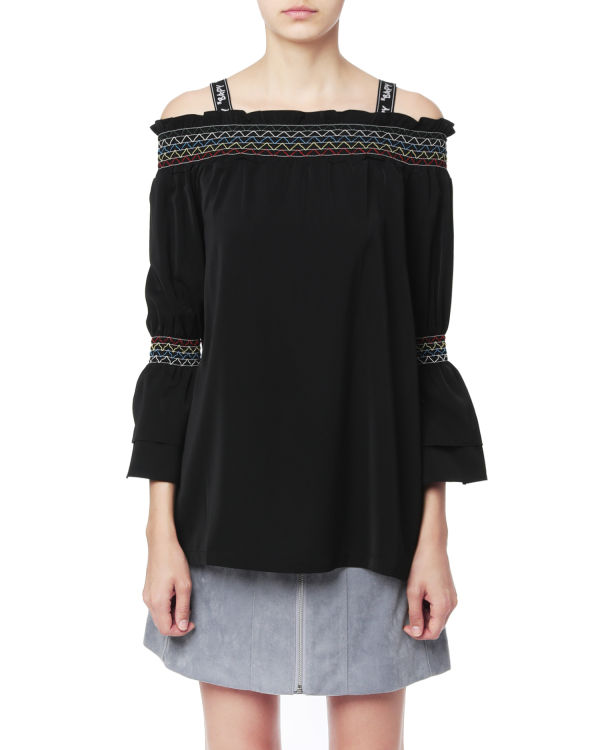 Shirred off-shoulder top