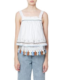 Tassels-embellished layered top