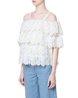 Shoulder strap ruffle blouse