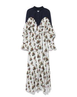 Draped floral print dress