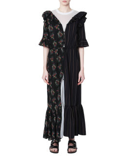 Contrast florals pinstripes dress