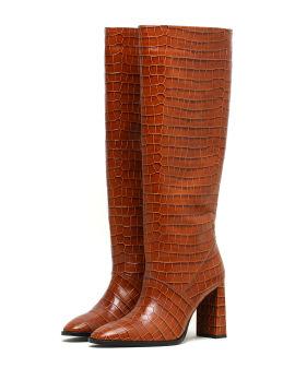 Crocodile knee-length boots