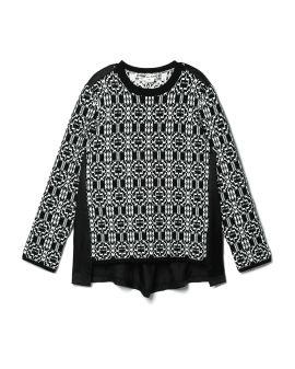 Intarsia knit layered sweater