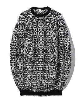 Intarsia knit cut-out sweater