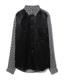 Panelled polka dot shirt