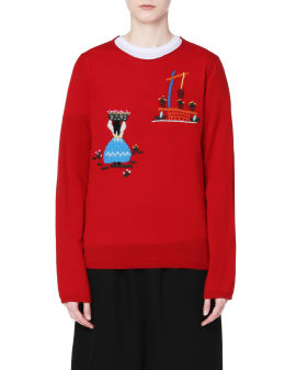 Embroidered graphics sweater