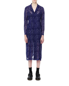 Semi-sheer floral embroidered dress