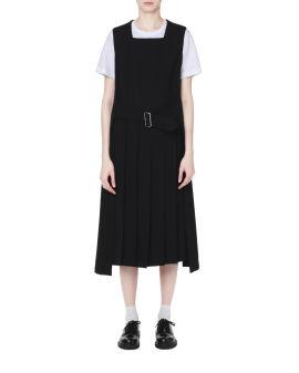 Attached waist belt wool dress