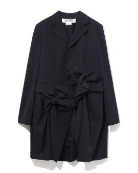 Tonal bow detail coat