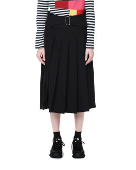Attached belt pleated skirt
