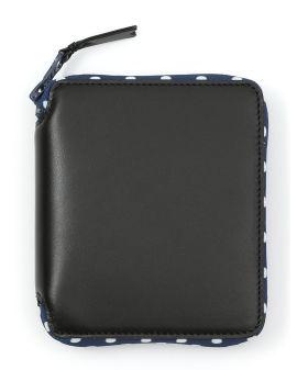 Polka-dot lined small zip wallet