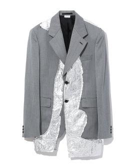 Asymmetrical contrast blazer