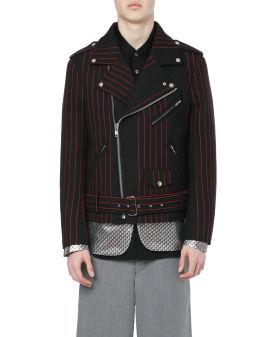 Layered stripe rider jacket