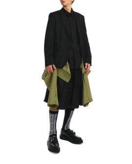 Houndstooth print hem blazer