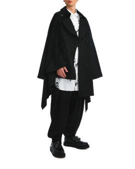 Asymmetric hem trench coat