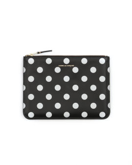 Polka dot leather zip pouch