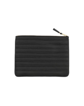 Embossed stitch leather wallet