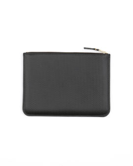Textured leather zip pouch