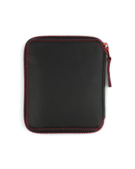 Contrast stitch leather wallet