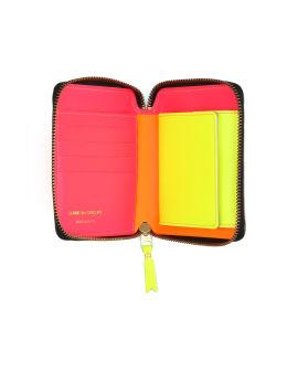 Fluorescent leather zip wallet