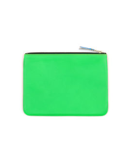 Contrast panel fluorescent leather zip pouch