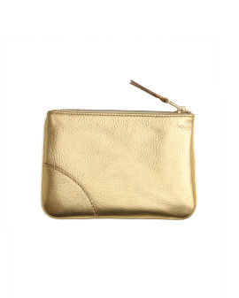 Metallic leather zip pouch