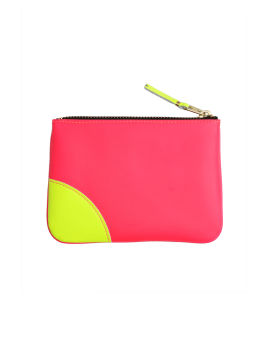 Fluorescent leather zip pouch