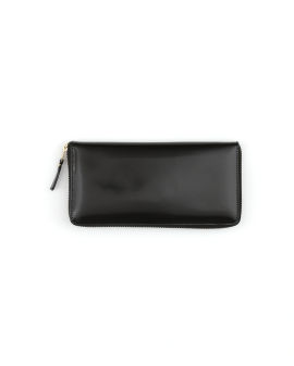 Patent leather continental wallet with contrast lined