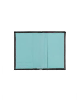 Patent leather card holder with contrast lined