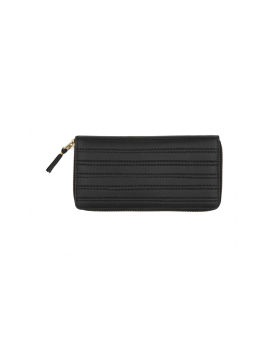 Embossed stitch leather continental wallet