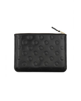 Patent leather polka dot zip pouch