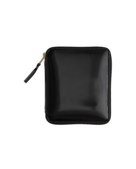 Leather zip wallet with contrast lining
