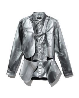 Metallic panelled buckle shirt