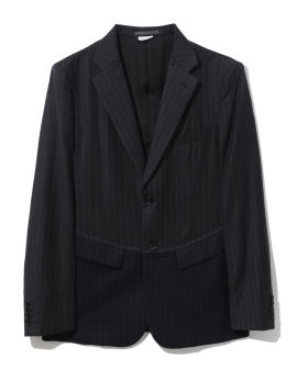 Colour blocked pinstriped blazer