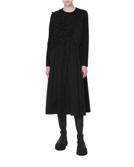 Gathered long sleeve dress